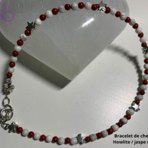 Bracelet de Cheville en Pierre Naturelle en Jaspe Rouge et Howlite - therapeute energeticienne