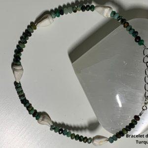 Bracelet de Cheville en Pierre Naturelle la Turquoise- therapeute energeticienne