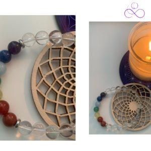 Bracelet 7 Chakras, Cristal de Roche - therapeute energeticienne