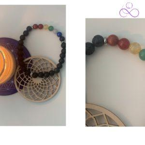 Bracelet 7 Chakras, Pierre de Lave: Alignement, Ancrage- therapeute energeticienne